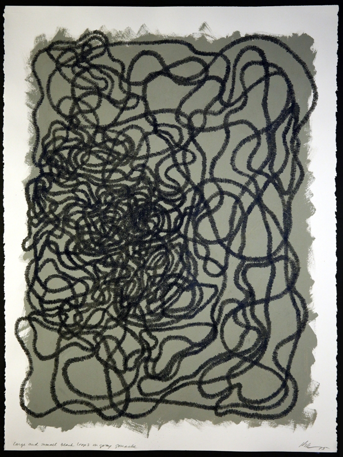 Lyn Horton, Large and small black loops on gray gouache on rag paper, 2015, 30 in h x 22 in w wp