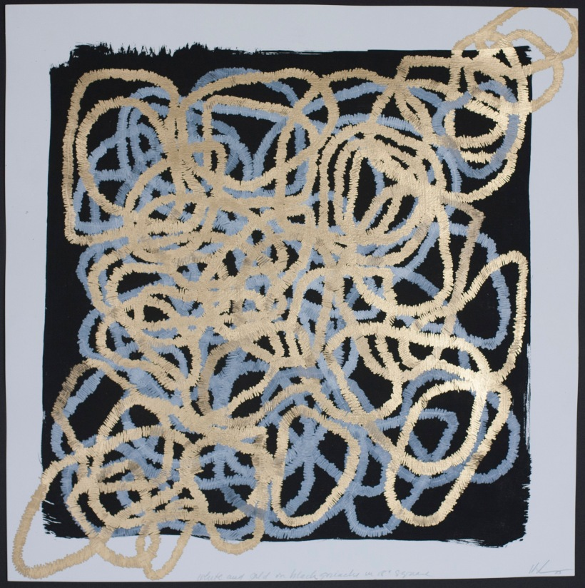 Lyn Horton, White and gold on black gouache in 18 in square, 2015.
