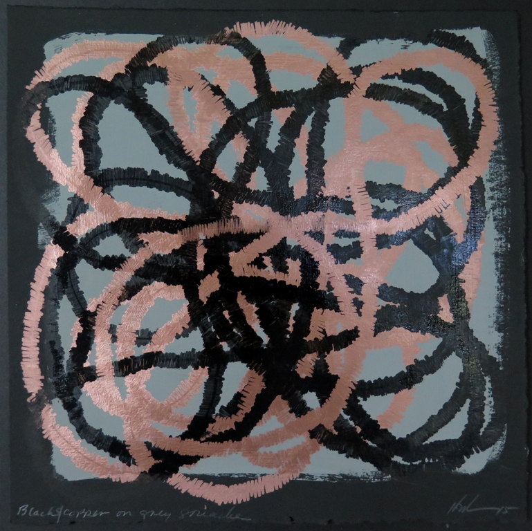 Lyn Horton, Black and copper on gray gouache, 2015, 10 in h x10 in w, marker and gouache on rag paper WP