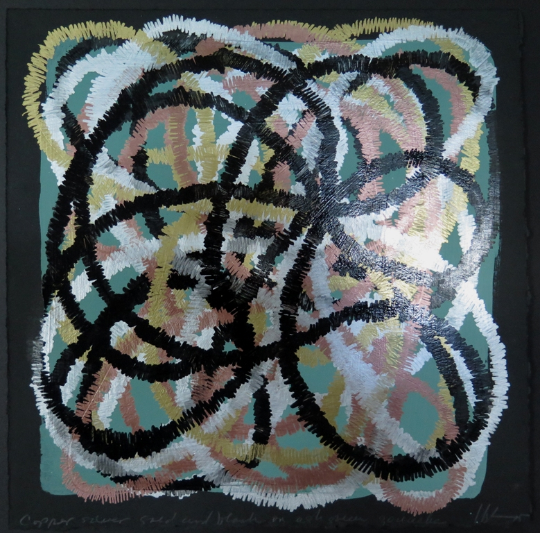 Lyn Horton, Copper silver gold and black on ash green gouache, 2015, 10 in h x 10 in w, marker and gouache on rag paper WP