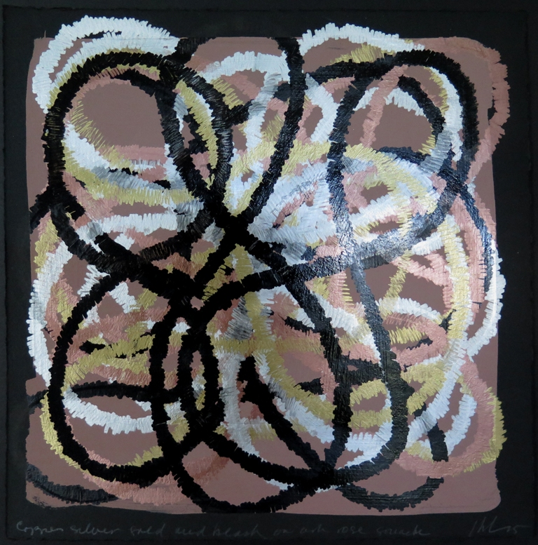 Lyn Horton, Copper silver gold and black on ash rose gouache, 2015, 10 in h x 10 in w, marker on gouache on rag paper wp