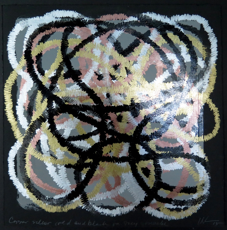 Lyn Horton, Copper silver gold and black on grey gouache, 2015, 10 in h x 10 in w, marker and gouache on rag paper WP