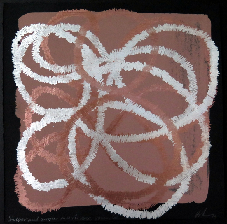 Lyn Horton, Silver and copper on ash rose gouache, 2015, 10 in h x 10 in w, marker and gouache on rag paper wp