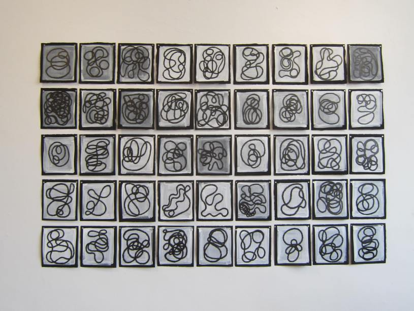 "45 Characters, each approximately 9""h x 7"" w, pigmented pen on white gouache on black rag paper"