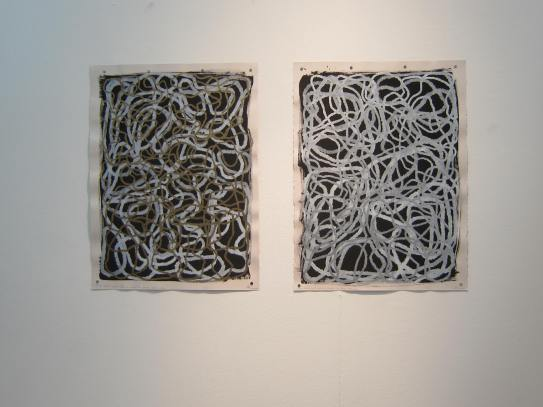 "Gold and silver and white large and small loops in marker and pigmented pen on gouache on rag paper, each 30"" h x 22""w"