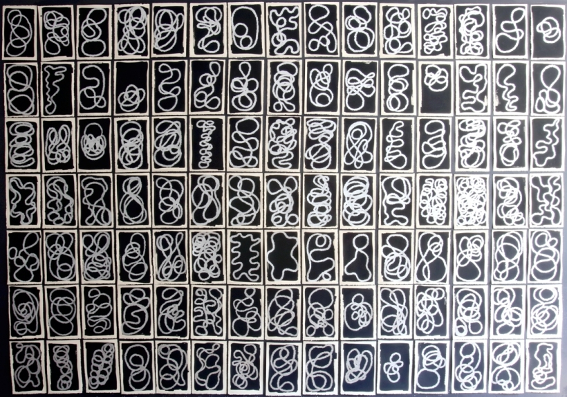lyn-horton-105-silver-characters-2016-81-in-h-x-117-25-in-w-silver-marker-on-black-gouache-on-rag-paper-wp