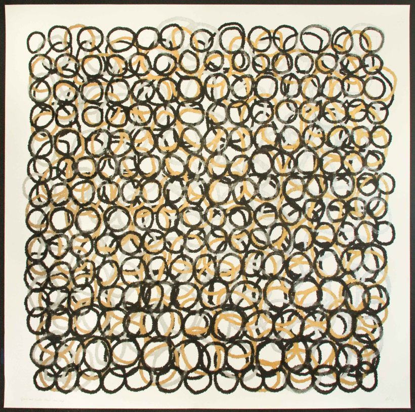 lyn-horton-four-layers-of-shapes-in-grid-marker-on-rag-paper-2017-70-in-h-x-70-in-w