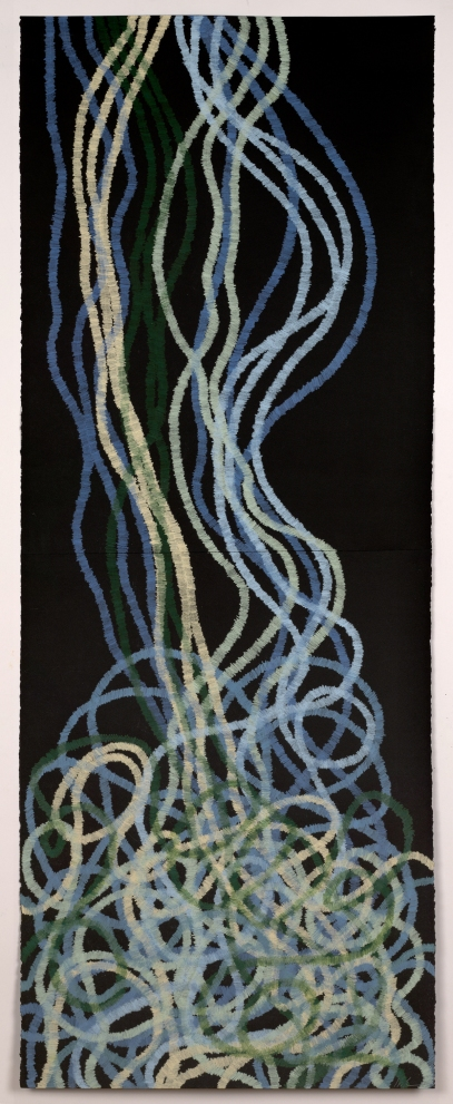 Lyn Horton, Cascade 6, 2017, 60 inches h x 22 inches wide, colored pencil on black rag paper