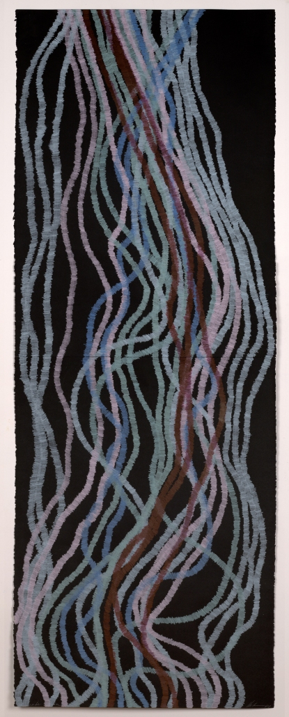 Lyn Horton, Cascade 7, 2017, 60 inches h x 22 inches wide, colored pencil on black rag paper