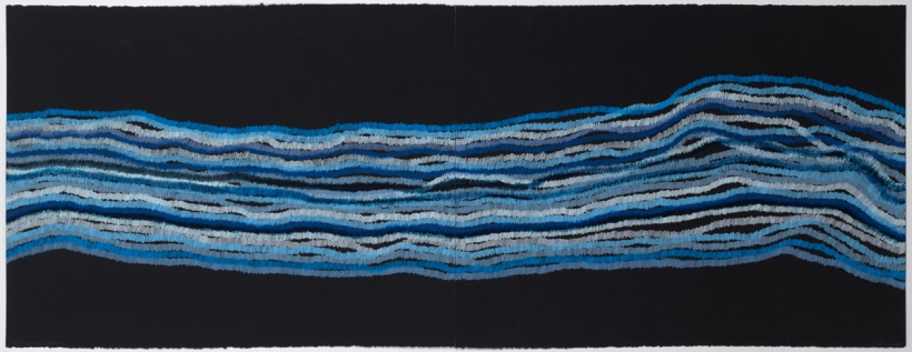 Lyn Horton, Elevation blue, 2018, 22 in h x 60 in w, colored pencil on black rag paper