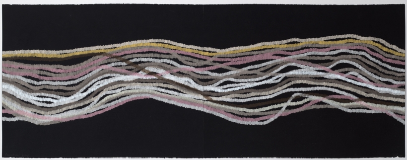 Lyn Horton, Elevation gray, 2018, 22 in h x 60 in w, colored pencil on black rag paper