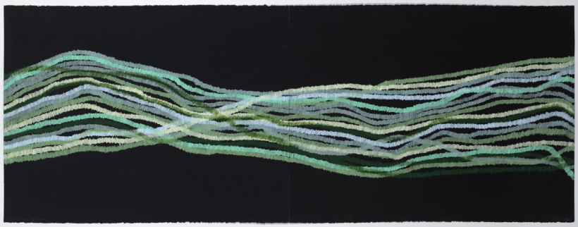 Lyn Horton, Elevation green, 2018, 22 in h x 60 in w, colored pencil on black rag paper