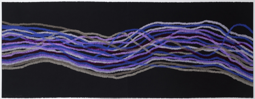 Lyn Horton, Elevation purple, 2018, 22 in h x 60 in w, colored pencil on black rag paper