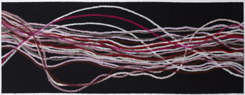 Lyn Horton, Elevation red, 2018, 22 in h x 60 in w, colored pencil on black rag paper