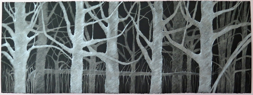 Lyn Horton,West Street Maples, 2017, 22.4 in h x 60 in w in, colored pencil on black rag paper