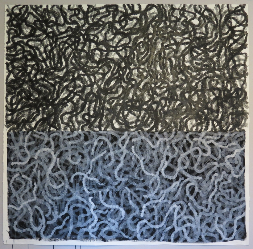 Lyn Horton, Black and White Lines on Black and White, 2018, 70 in x 70 in, crayon, pigmented pen and colored pencil on rag paper