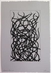 Lyn Horton, Japanese lines #1, 2019, ink in grey rag paper, 22.25 in h x 15 in w