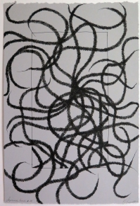 Lyn Horton, Japanese lines #10, 2019, ink in grey rag paper, 22.25 in h x 15 in w