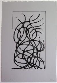 Lyn Horton, Japanese lines #2, 2019, ink in grey rag paper, 22.25 in h x 15 in w