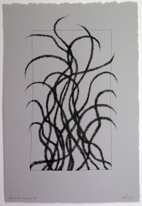 Lyn Horton, Japanese lines #3, 2019, ink in grey rag paper, 22.25 in h x 15 in w