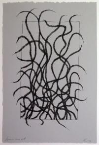Lyn Horton, Japanese lines #4, 2019, ink in grey rag paper, 22.25 in h x 15 in w
