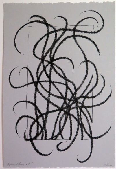 Lyn Horton, Japanese lines #5, 2019, ink in grey rag paper, 22.25 in h x 15 in w
