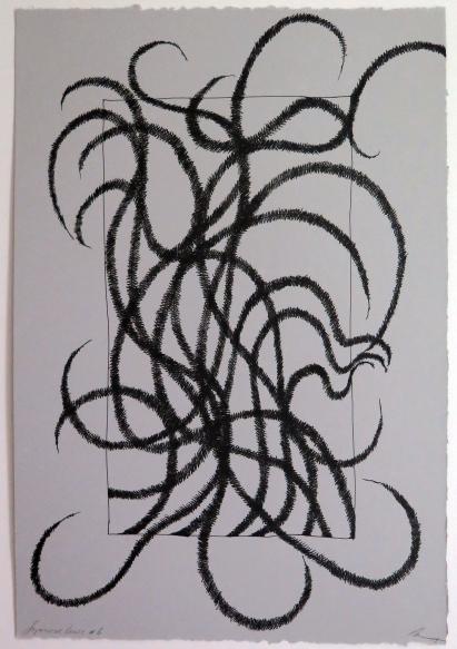 Lyn Horton, Japanese lines #6, 2019, ink in grey rag paper, 22.25 in h x 15 in w