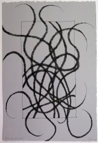 Lyn Horton, Japanese lines #8, 2019, ink in grey rag paper, 22.25 in h x 15 in w