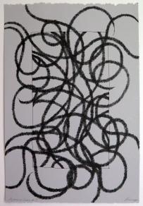 Lyn Horton, Japanese lines #9, 2019, ink in grey rag paper, 22.25 in h x 15 in w