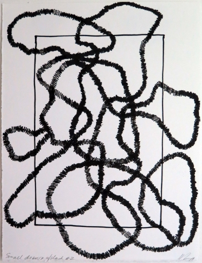 Lyn Horton, Small Drawing black #2, 2019, ink on rag paper, 13.125 h x 10 in w