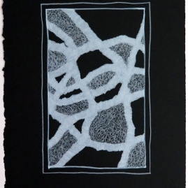Lyn Horton, White Colored Pencil on Black #11, 2019, colored pencil on black rag paper, 15 in h x 11.25 in w