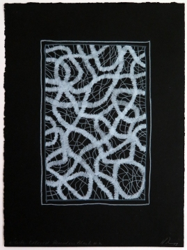 Lyn Horton, White Colored Pencil on Black #2, 2019, colored pencil on black rag paper, 15 in h x 11.25 in w