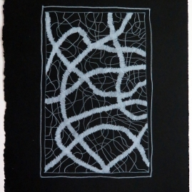 Lyn Horton, White Colored Pencil on Black #3, 2019, colored pencil on black rag paper, 15 in h x 11.25 in w