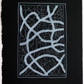 Lyn Horton, White Colored Pencil on Black #3, 2019, colored pencil on black rag paper, 15 in h x 11.25 in w