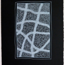 Lyn Horton, White Colored Pencil on Black #7, 2019, colored pencil on black rag paper, 15 in h x 11.25 in w