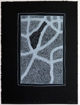 Lyn Horton, White Colored Pencil on Black #9, 2019, colored pencil on black rag paper, 15 in h x 11.25 in w