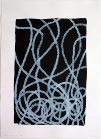 Lyn Horton, White Ink Curves #3, 30 in h x 22 h w, ink marker on black gouache on rag paper