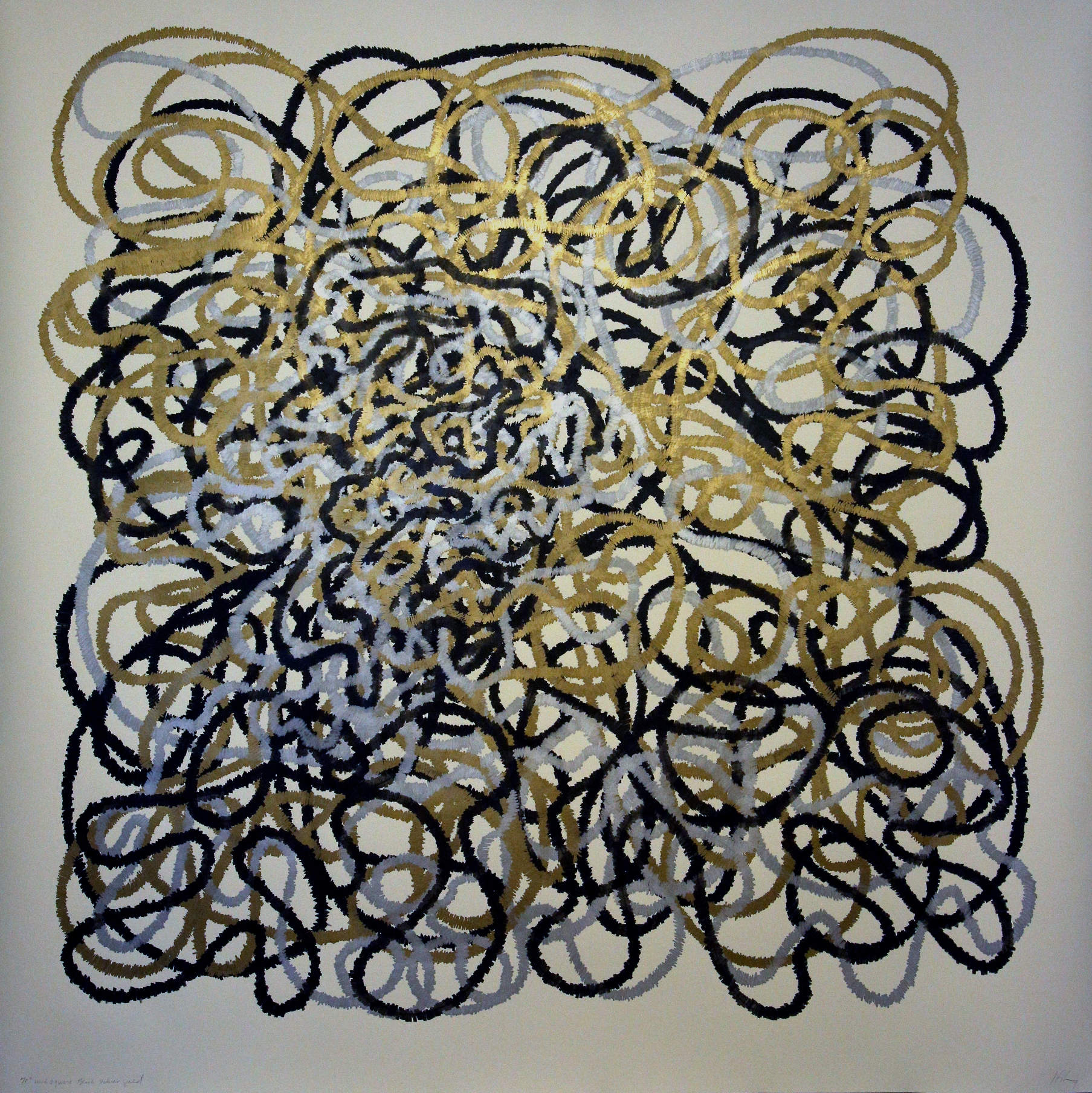 70 inch Square Drawing Black, Silver, Gold, 2014, 69.5 in h x 70 in w, black pigmented pen, gold and silver marker on rag paper for Website.jpg
