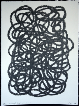 Seven squiggly loops black ink, 2014, 15 in h x 11.25 in w, ink on rag paper