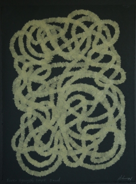 Seven squiggly loops sand, 2014, 15 in h x 11.25 in w, colored pencil on rag paper