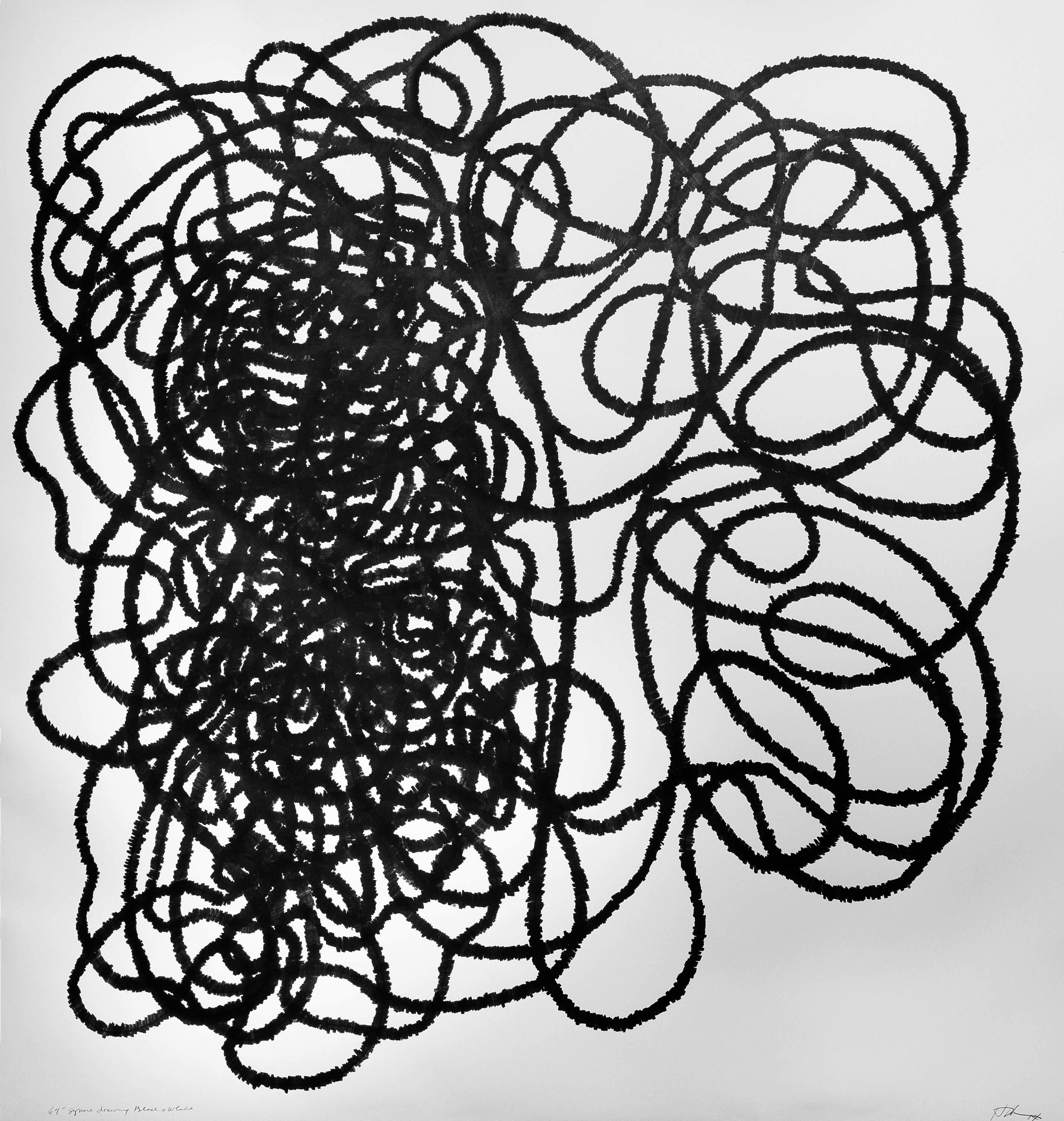 70 inch Square drawing Black on White, 2014