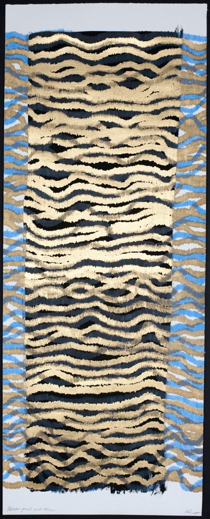 Lyn Horton, Black panel with blue, 2015, 36 in h x 14 in w, marker and colored pencil on black gouache on rag paper