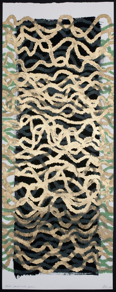 Lyn Horton, Black panel with green, 2015, 36 in h x 14 in w, marker and colored pencil on black gouache on rag paper