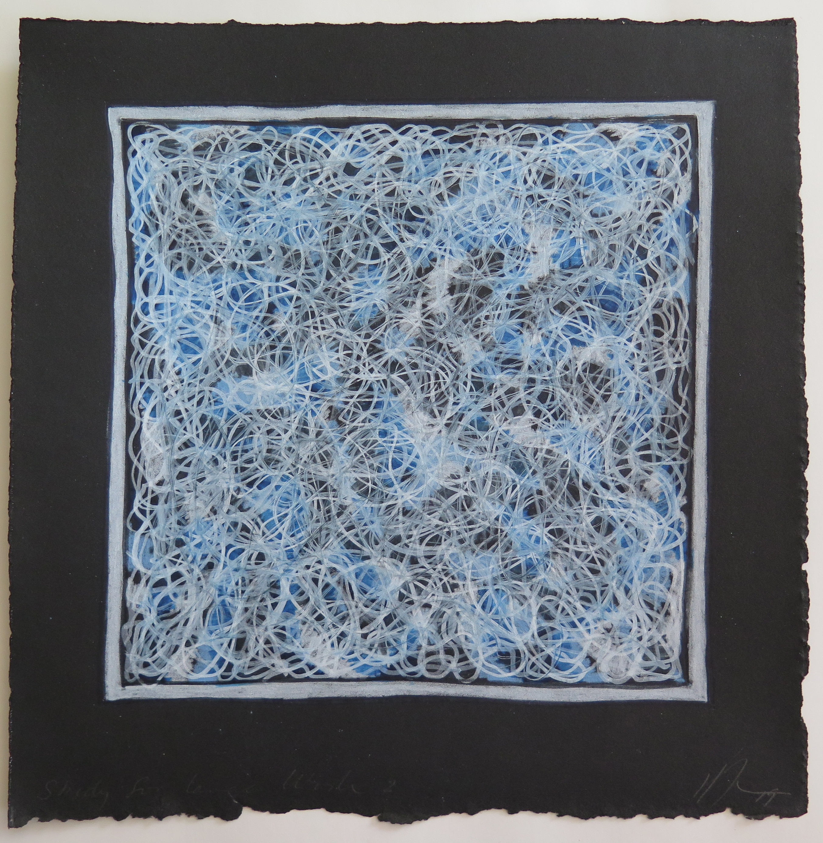 Lyn Horton, Study for Large Work 2, 2019, 9.25 inches square, colored pencil and ink on rag paper