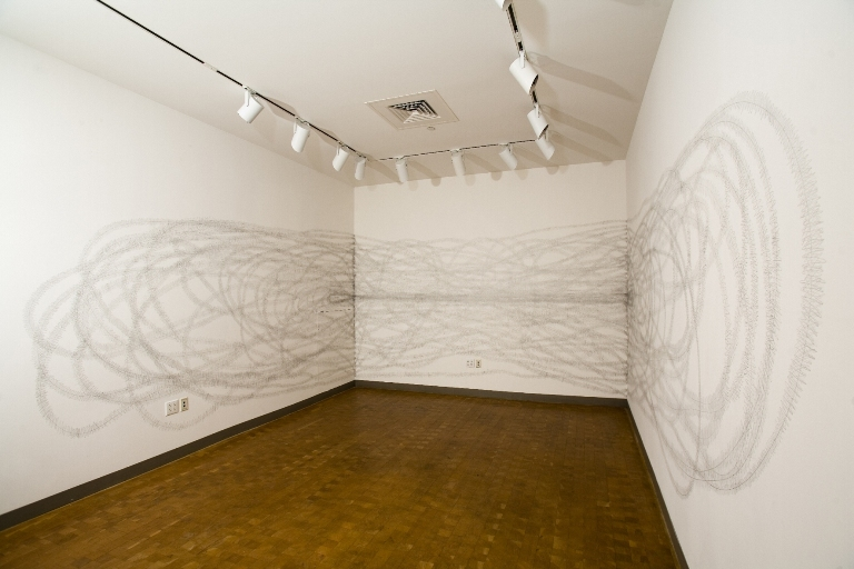 Wall Drawing- Smith, view from entrance to gallery) 08-9