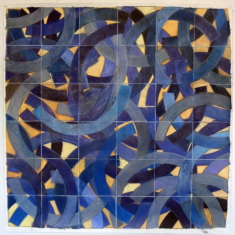 connecting(blue)06, 43 inches x 43 inches