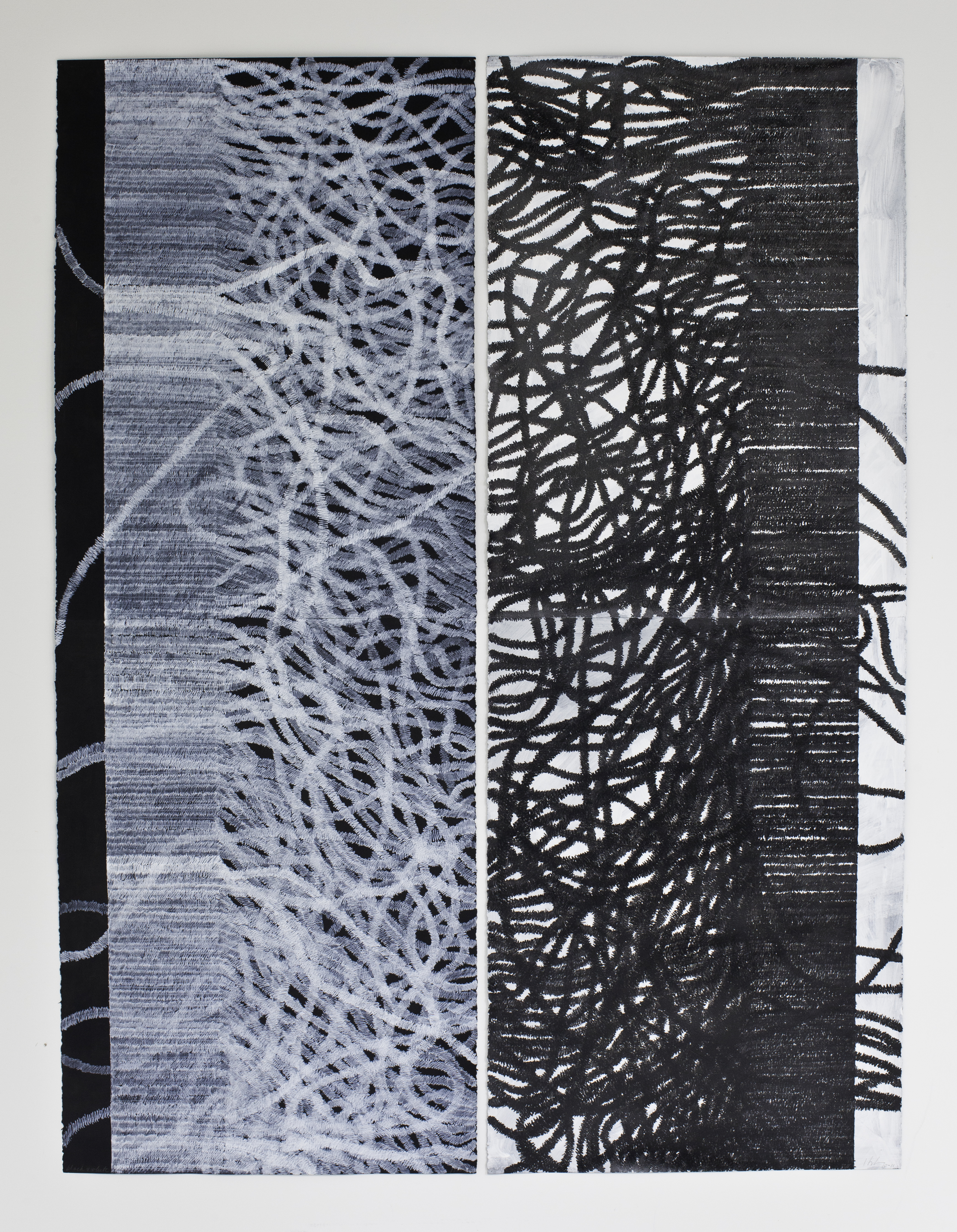 Lyn Horton, copyright, Black & White Things, 2011, 60 inches x 44 inches, ink on gouache on black paper hires