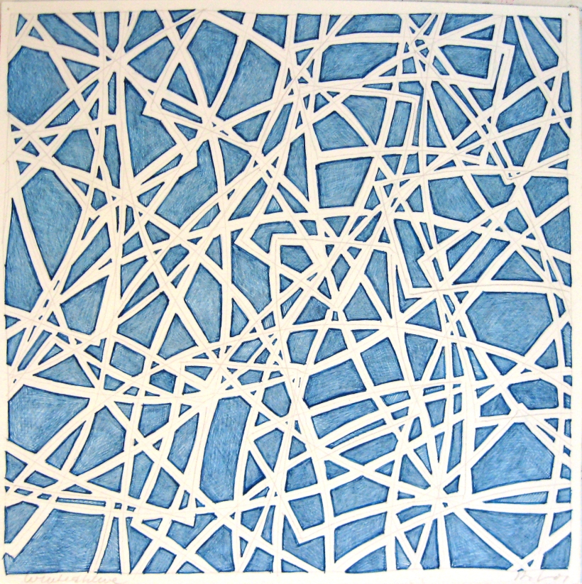11 x 11 blue ink & white col pencil, 07