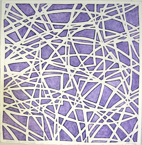 11 x 11 purple ink & white col pencil #2, 07