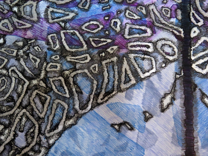 Lyn Horton, detail center Tree Kimono, 2019, 90 in x 70 in, ink and colored pencil on rag paper (several parts)